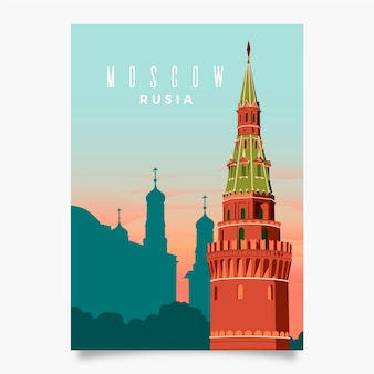 Modèle de flyer promotionnel de moscou