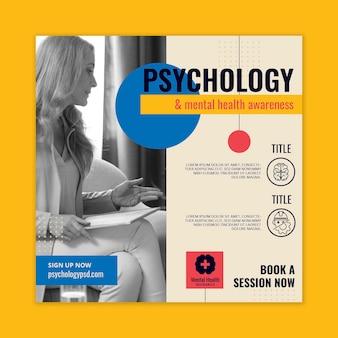 Modèle de flyer de psychologie au carré