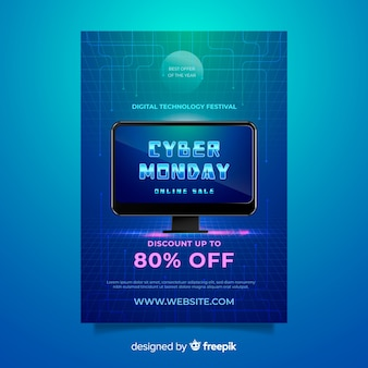Modèle de flyer réaliste cyber monday