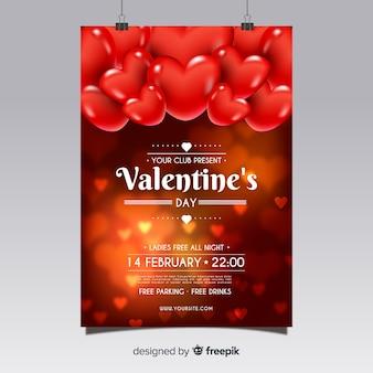 Modèle de flyer réaliste fête de la saint-valentin
