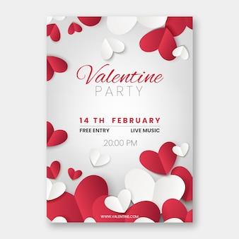 Modèle de flyer réaliste de fête de la saint-valentin