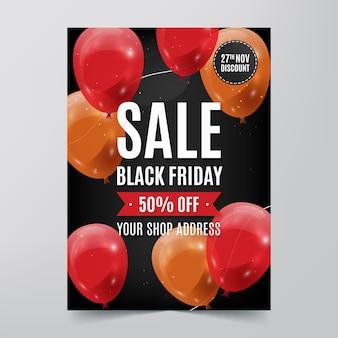 Modèle de flyer réaliste vendredi noir