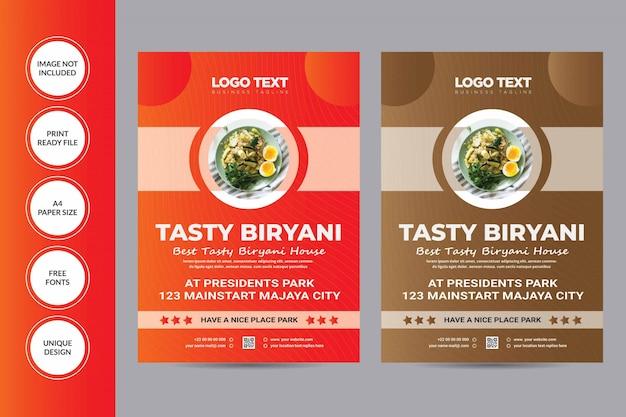 Modèle de flyer de restaurant biryani