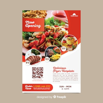 Modèle de flyer de restaurant avec photo