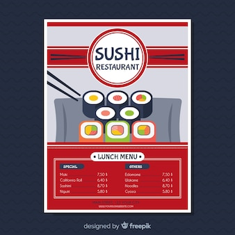 Modèle de flyer restaurant sushi moderne