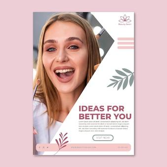 Modèle de flyer de salon de beauté avec photo