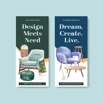 Modèle de flyer serti de meubles de luxe dans un style aquarelle