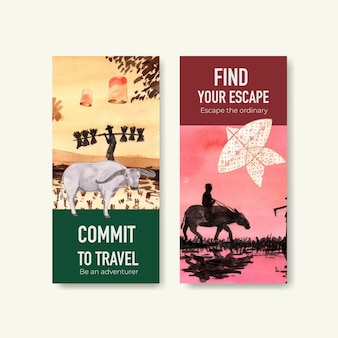 Modèle de flyer sertie de voyage en thaïlande pour brochure dans un style aquarelle