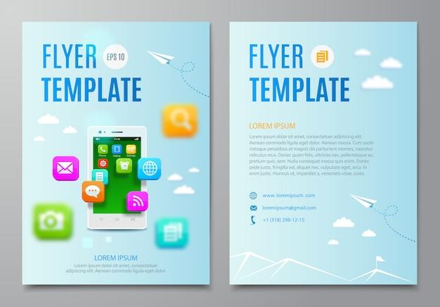 Modèle de flyer avec smartphone et nuage d'icônes application mobile.
