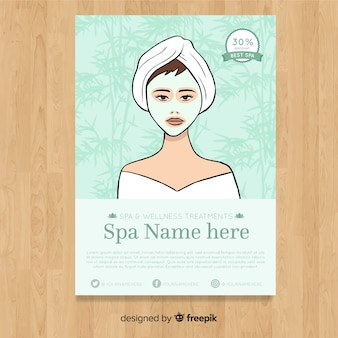 Modèle de flyer spa dessiné main belle