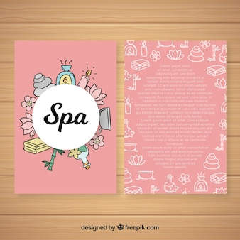 Modèle de flyer spa dessiné à la main