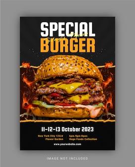Modèle de flyer spécial burger