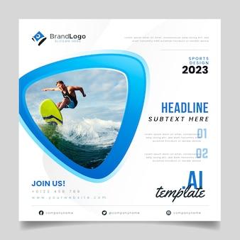 Modèle de flyer de surfeur