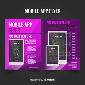Modèle de flyer de téléphone portable plat