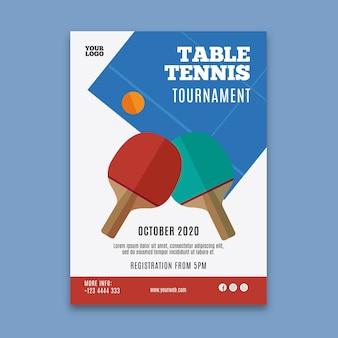 Modèle de flyer de tennis de table