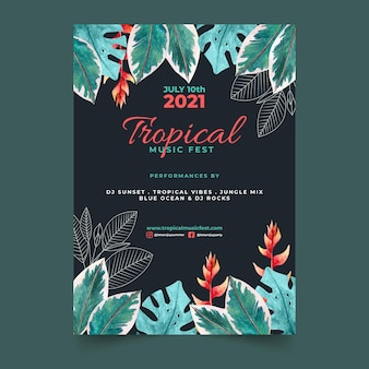 Modèle de flyer tropical parti