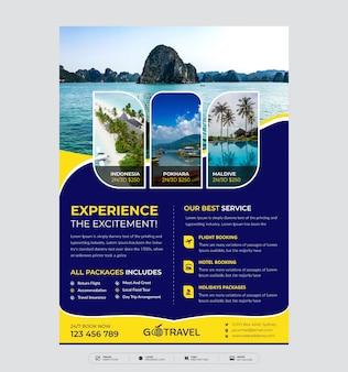Modèle de flyer de vacances, voyages d'été et tourisme