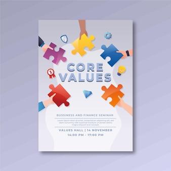 Modèle de flyer de valeurs fondamentales de dégradé