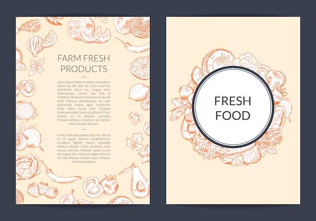 Modèle de flyer vecteur fruits et légumes dessinée à la main