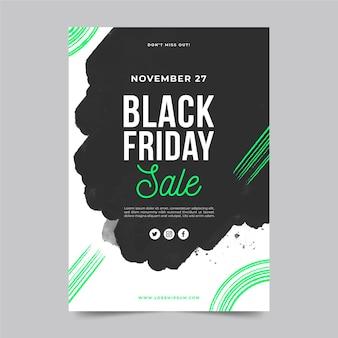 Modèle de flyer de vendredi noir aquarelle tache