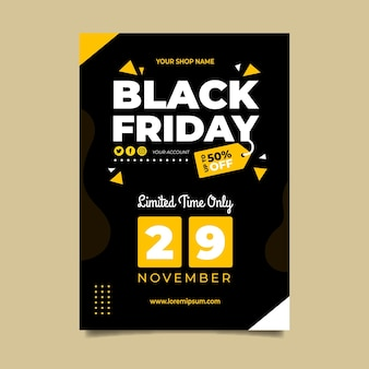 Modèle de flyer vendredi noir au design plat
