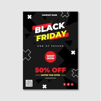 Modèle de flyer vendredi noir design plat