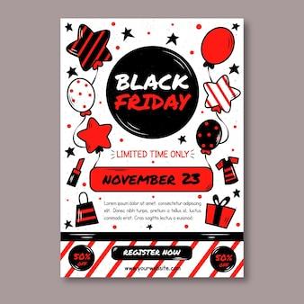 Modèle de flyer vendredi noir dessiné à la main