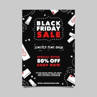 Modèle de flyer de vendredi noir dessiné à la main