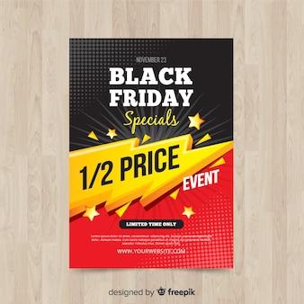 Modèle de flyer vendredi noir moderne avec un design plat