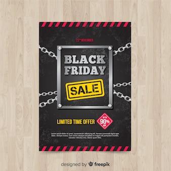 Modèle de flyer vendredi noir moderne avec un design réaliste