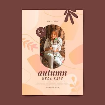 Modèle de flyer de vente d'automne vertical dégradé avec photo