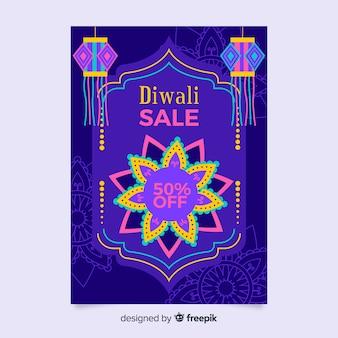 Modèle de flyer de vente diwali au design plat
