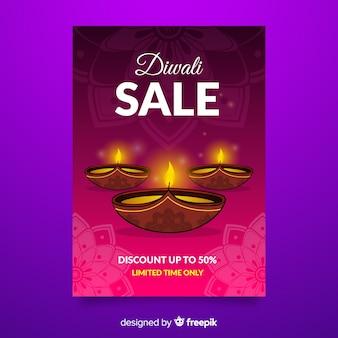 Modèle de flyer vente diwali dessiné à la main