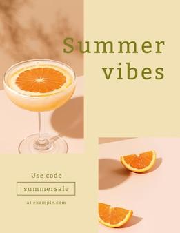Modèle de flyer de vente d'été dans un ton coloré