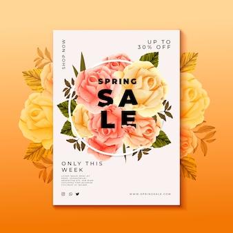 Modèle de flyer de vente de fleurs dessinées à la main