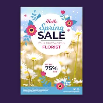 Modèle de flyer de vente de printemps avec concept photo