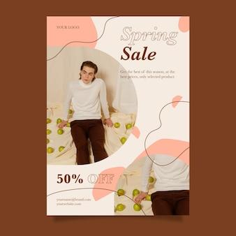 Modèle de flyer de vente de printemps design plat avec photo