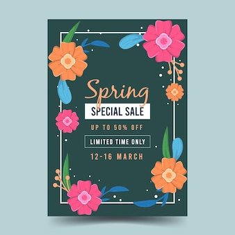 Modèle de flyer de vente de printemps design plat