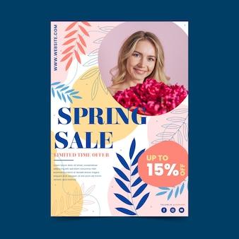 Modèle de flyer de vente de printemps dessiné à la main avec photo