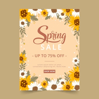 Modèle de flyer de vente de printemps dessiné à la main