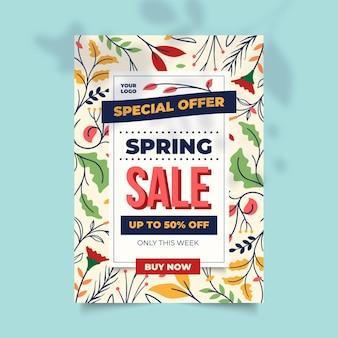 Modèle de flyer de vente de printemps dessiné à la main