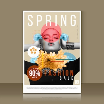 Modèle de flyer de vente de printemps avec photo