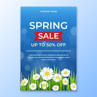 Modèle de flyer de vente de printemps réaliste