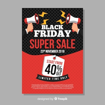 Modèle de flyer vente vendredi noir avec mégaphone