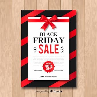 Modèle de flyer vente vendredi noir en noir et rouge avec des rayures et un ruban
