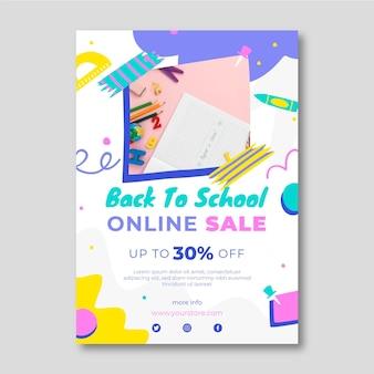 Modèle de flyer de vente verticale de retour à l'école dessiné à la main avec photo