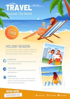 Modèle de flyer de vente de voyage femme à la plage