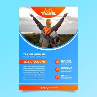 Modèle de flyer de vente de voyage avec photo