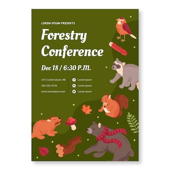 Modèle de flyer vertical avec des animaux de la forêt