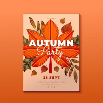 Modèle de flyer vertical automne aquarelle